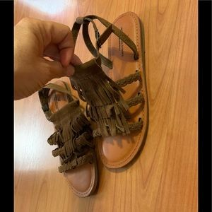 American Eagle outfitters fringe brown sandal 8
